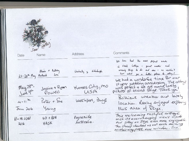 Page eighty four from our visitors' book
