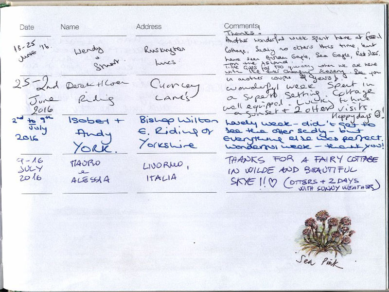 Page eighty five from our visitors' book